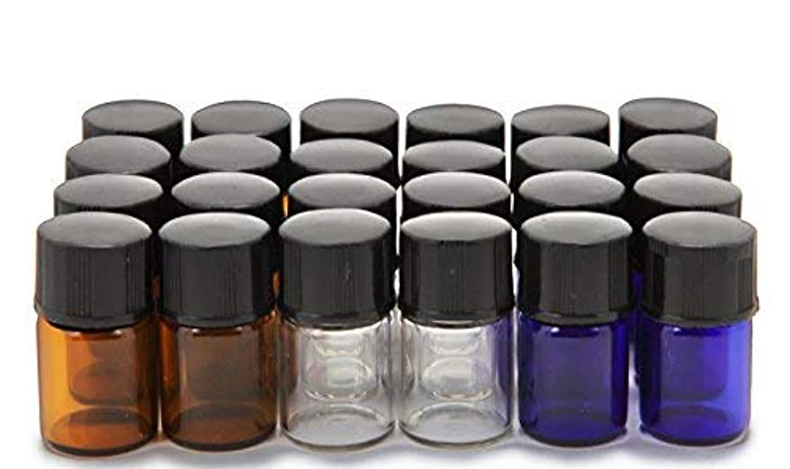 カウント鬼ごっこ頭Vivaplex, 24, Assorted Colors, 2 ml (5/8 Dram) Glass Bottles, with Orifice Reducers and Black Caps [並行輸入品]