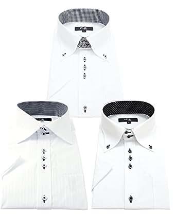 北斎(ホクサイ) 襟高 半袖ワイシャツ 3枚セット メンズ hgs 002-M