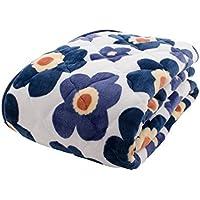 アイリスプラザ 敷きパッド ダブル ベッドパッド プレミアムマイクロファイバー 洗える 静電気防止 とろけるような肌触り fondan 品質保証書付 花柄ネイビー 140×200cm