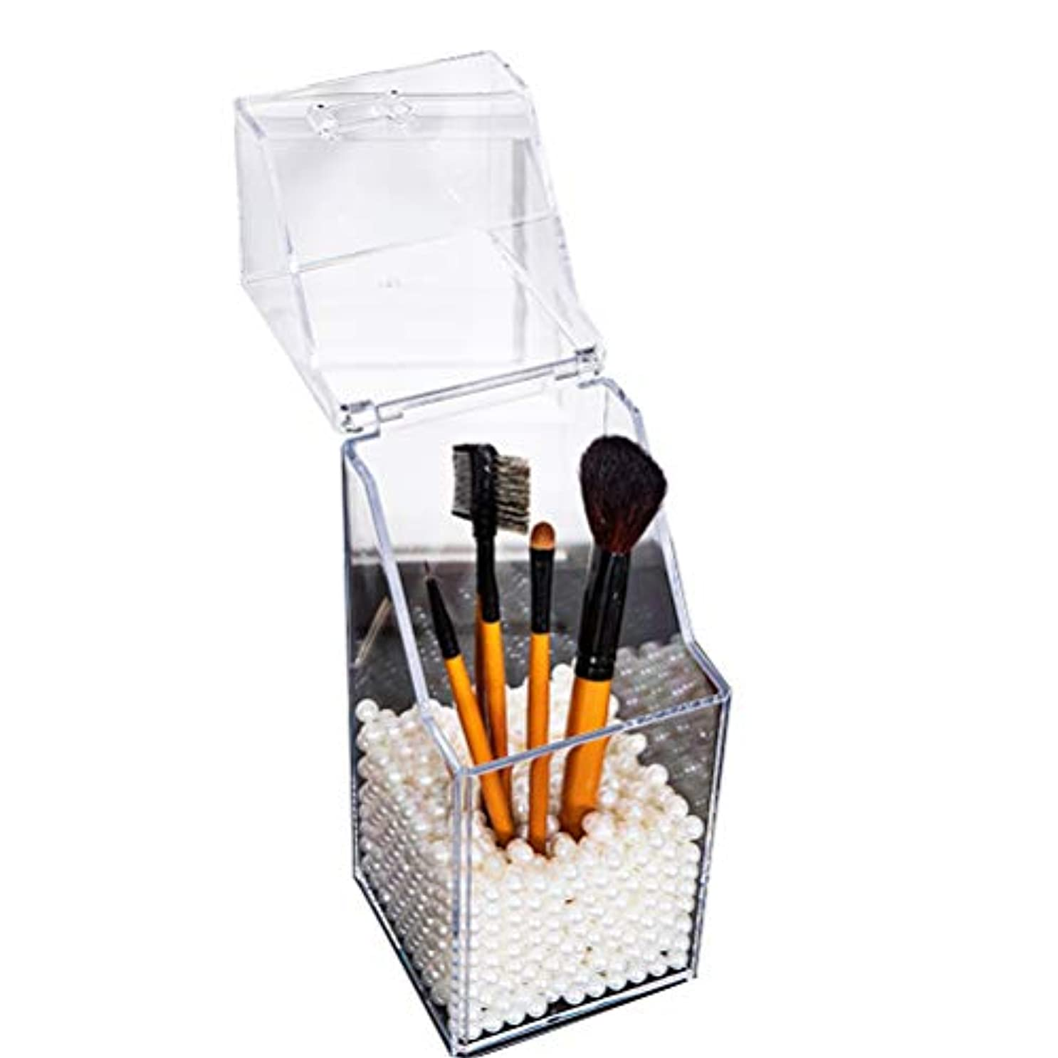 デマンド中央楽しませる[YEMOCILE] メイクボックス レディース ふた付き メイクブラシ 化粧品入れ 収納 透明 引き出し小物 アクリル製 真珠 高品質 ホワイト