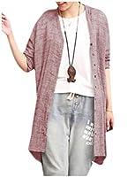 VITryst 女性優雅なリネンロングスリーブ立体オープンフロントコートジャケット Pink 3XL