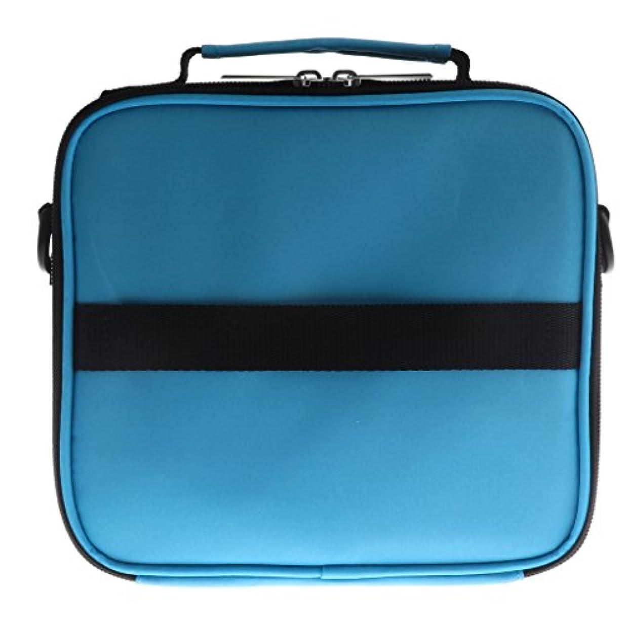 乗算のぞき穴不良品全6色 アロマポーチ エッセンシャルオイル ケース 香水収納バッグ アロマケース 携帯用 30本用 - 青