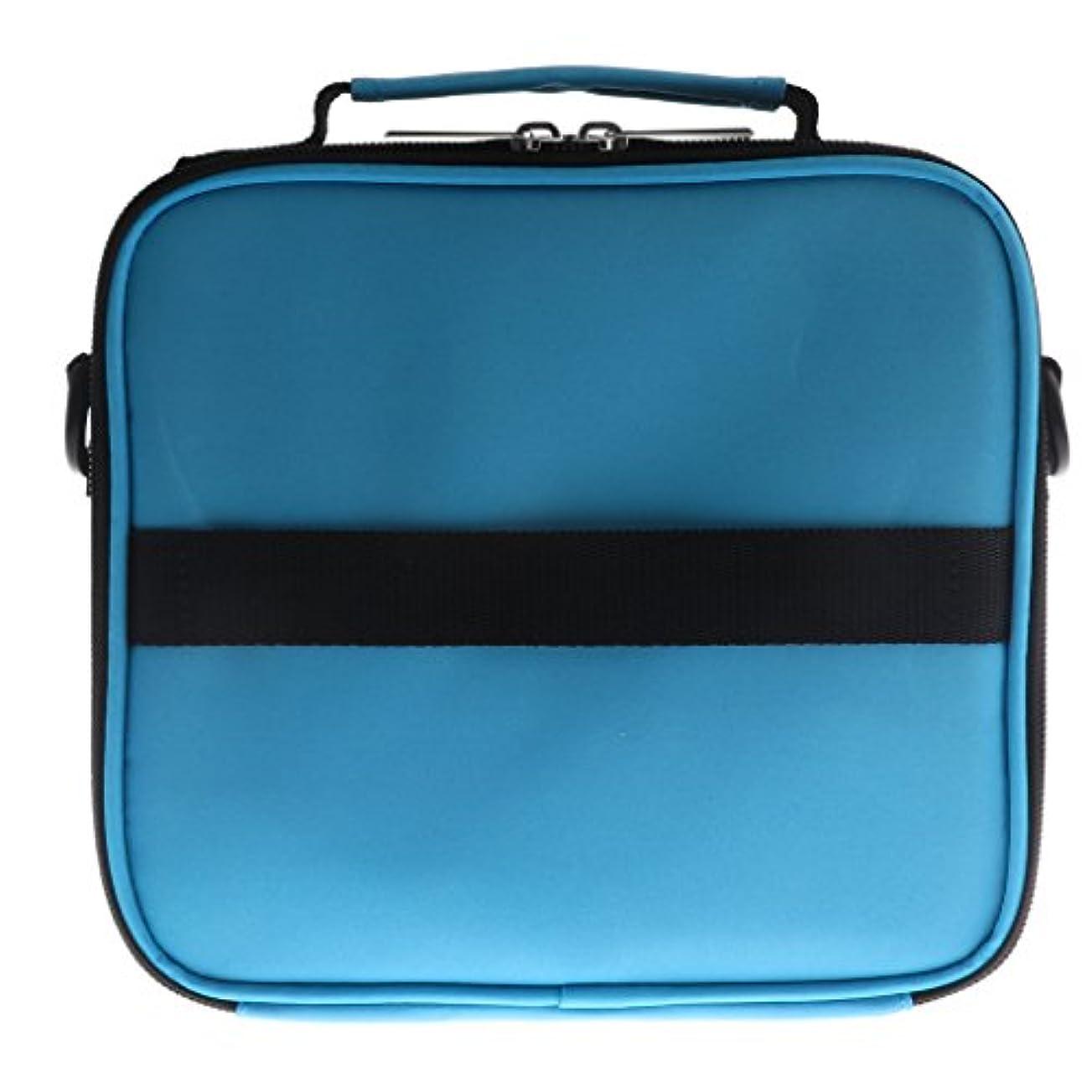 裁定エリート沿って全6色 アロマポーチ エッセンシャルオイル ケース 香水収納バッグ アロマケース 携帯用 30本用 - 青