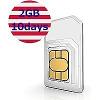 【ローミングSIM】アメリカ その他9か国利用 10日データ容量2GB プリペイドSIM