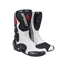 レーシングブーツ バイク用ブーツ メンズオートバイ靴 プロテクトスポーツブーツ バイク用靴 ライディングシューズ (26.5-27cm)43サイズ ホワイト