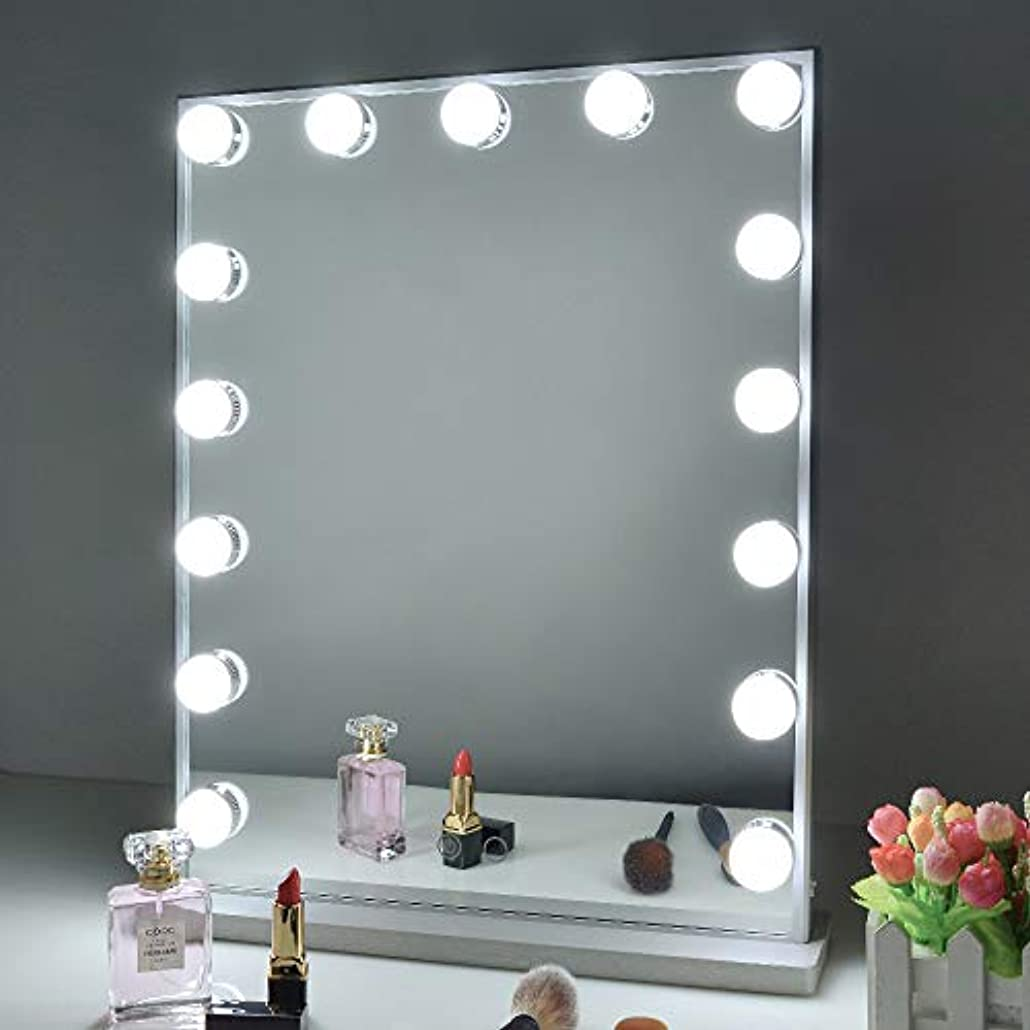 芸術的電話する味方Wonstart 女優ミラー led化粧鏡 ハリウッドミラー 15個LED電球付き 寒色?暖色2色調光 明るさ調整可能 スタンド付き 卓上/壁掛け両用(シルバー)
