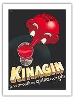 Kinagin - キニーネとベルモットとジン - フランスの酒 - ビンテージな広告ポスター によって作成された E. P. c.1941 -プレミアム290gsmジークレーアートプリント - 46cm x 61cm