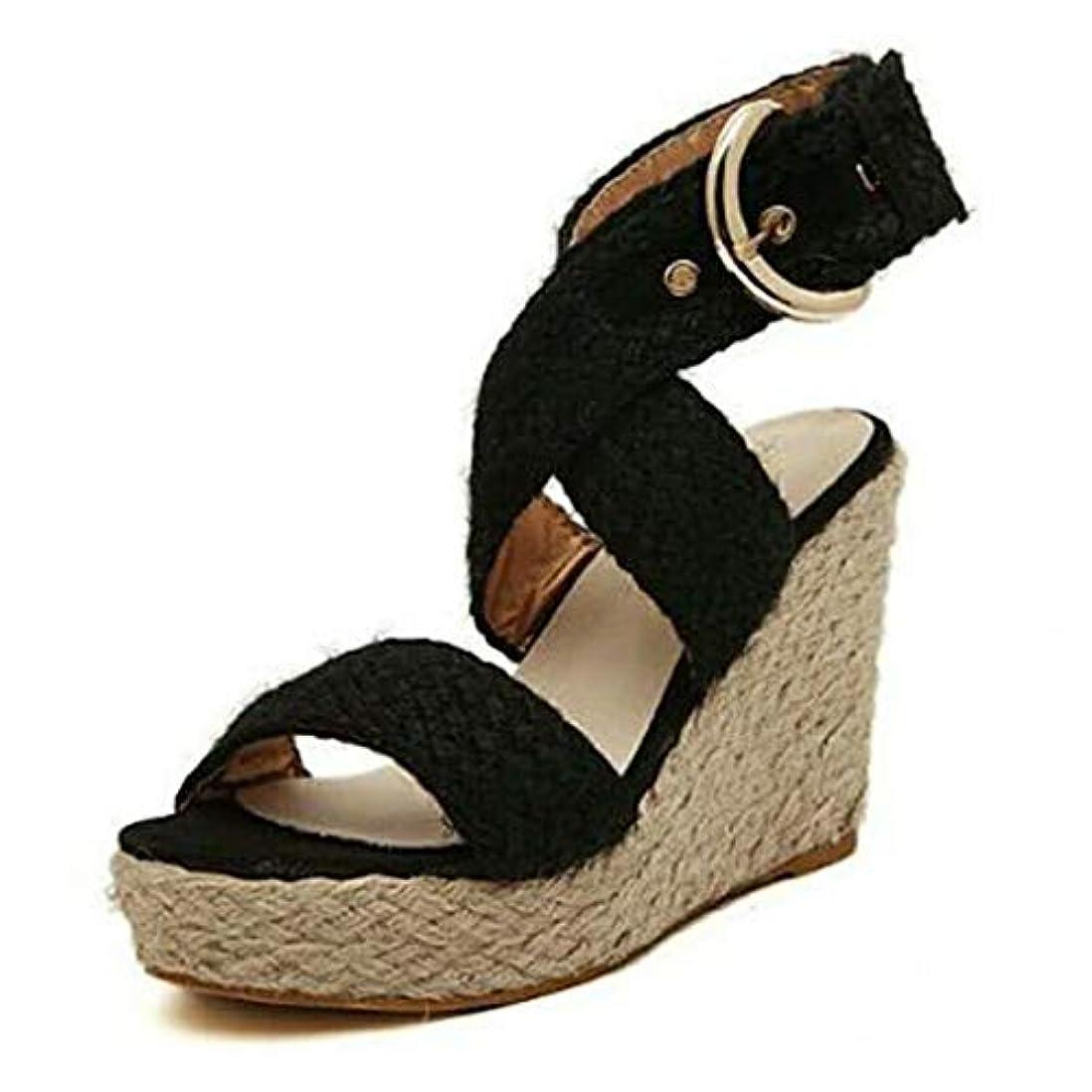 サラダ耕す気になるレディース サンダル Tongdaxinxi 女性 レディース ファッション カジュアル ビッグサイズ バックルウェッジ サンダル ローマの靴 人気 軽量 おしゃれ レディース サンダル