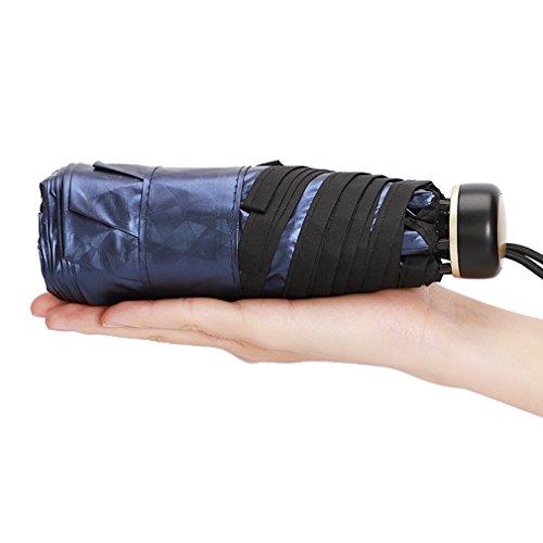日傘 折りたたみ 完全遮光 超軽量 折り畳み傘 小型 薄型 紫外線傘 UVカット 晴雨兼用 (ブルー)