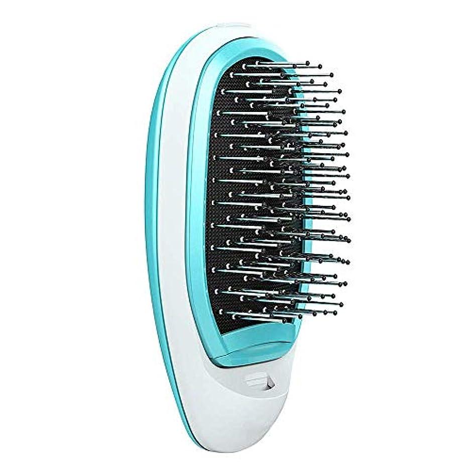 専ら残基に話すポータブル電気イオンヘアブラシ、もつれを解消するヘアブラシ頭皮マッサージケアブラシ振動マッサージくしヘアブラシ、縮れ毛をまっすぐに,Blue