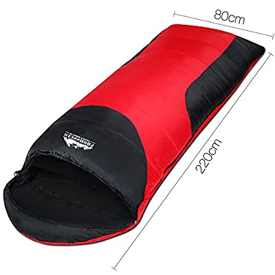 WEISSHORN Single Sleeping Bag Camping Gear Liner Hiking Camping Winter Summer Lightweight Cotton -10 °C 220cm x 80cm Campact Carry Bag Red and Black