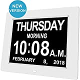 Day Date Clock Dementia Clock Digital Alarm Clock Calendar with Large LCD Screen, On Time Alarm, Auto Light Dimming, Snooze Timer, Battery Backup, Support SD Card (White)
