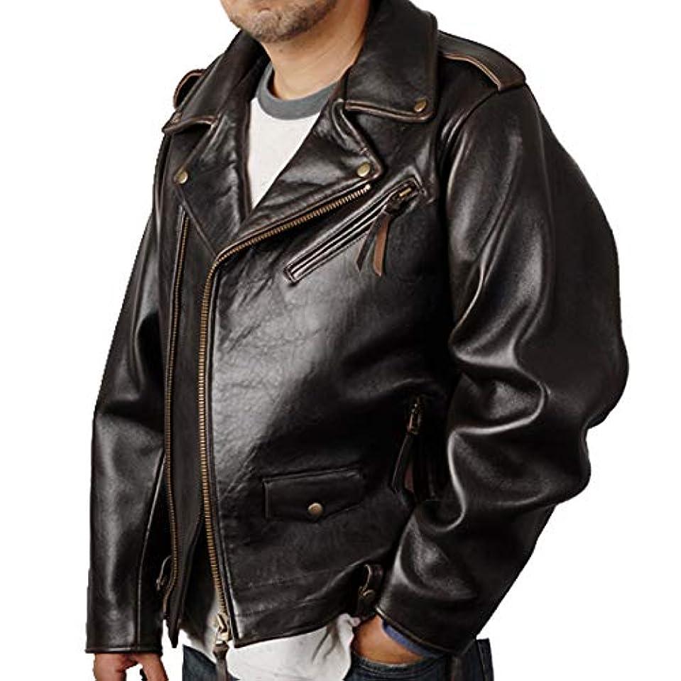 仮定説得力のあるペダル訳あり レザージャケット 本革 ダブル ライダースジャケット ブラウン メンズ L フランス産高級ラム革使用!