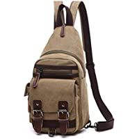 Wukong Mens Canvas Shoulder Chest Bag Crossbody Sling Backpack Daypack Outdoor