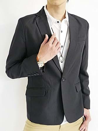 (モノマート) MONO-MART スプリング テーラード ジャケット テイラード JKT ブレザー ビジネス スリム カラー メンズ ブラック Lサイズ
