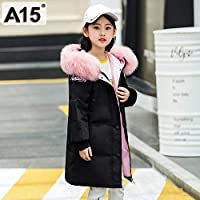 A15 Big Girls Winter Coat Teen Kids Winter Hooded Jackets Children's Coats Warm Down Jacket for Girl Size 6 8 10 12 14 Year