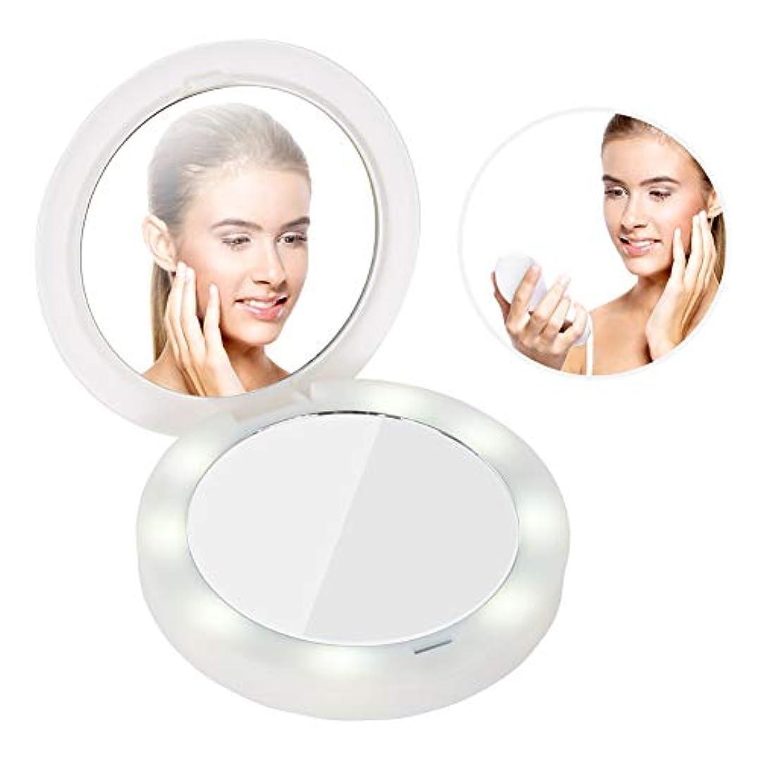 動詞選ぶ終了するUSBの回転可能な化粧品ミラー LEDの構造のポケットミラーの拡大鏡