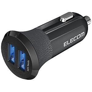 エレコム カーチャージャー 車載充電器 急速 【 iPhone & android & IQOS& glo 対応】 USBポート×2 ( 4.8A 出力 ) 電流自動識別 ブラック EC-DC03BK