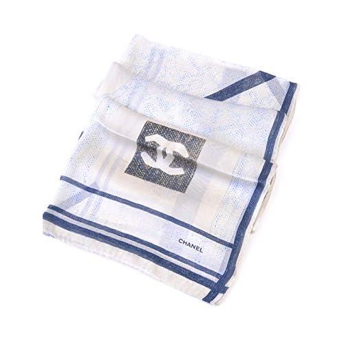 (シャネル) CHANEL スカーフ 70x180 ホワイト ブルー ベージュ 並行輸入品