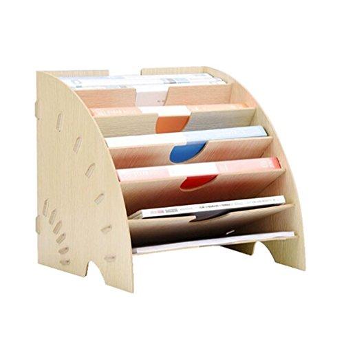 マガジンファイル 本棚 おしゃれ 書類整理 ファイルラック 机上収納 仕切りラック オフィス用品 文房具 扇形 木製 組立式 人気アイテム 2カラー