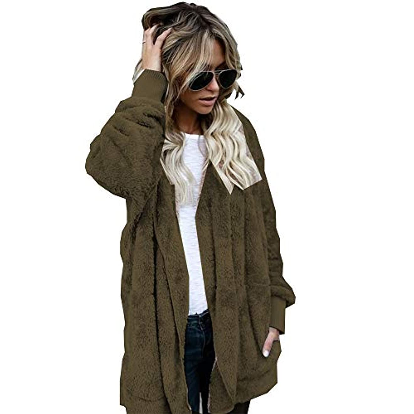 サーフィン住居誇大妄想MIFAN 長袖パーカー、冬のコート、女性のコート、女性の緩い厚く暖かいフェイクファーフード付きカーディガン