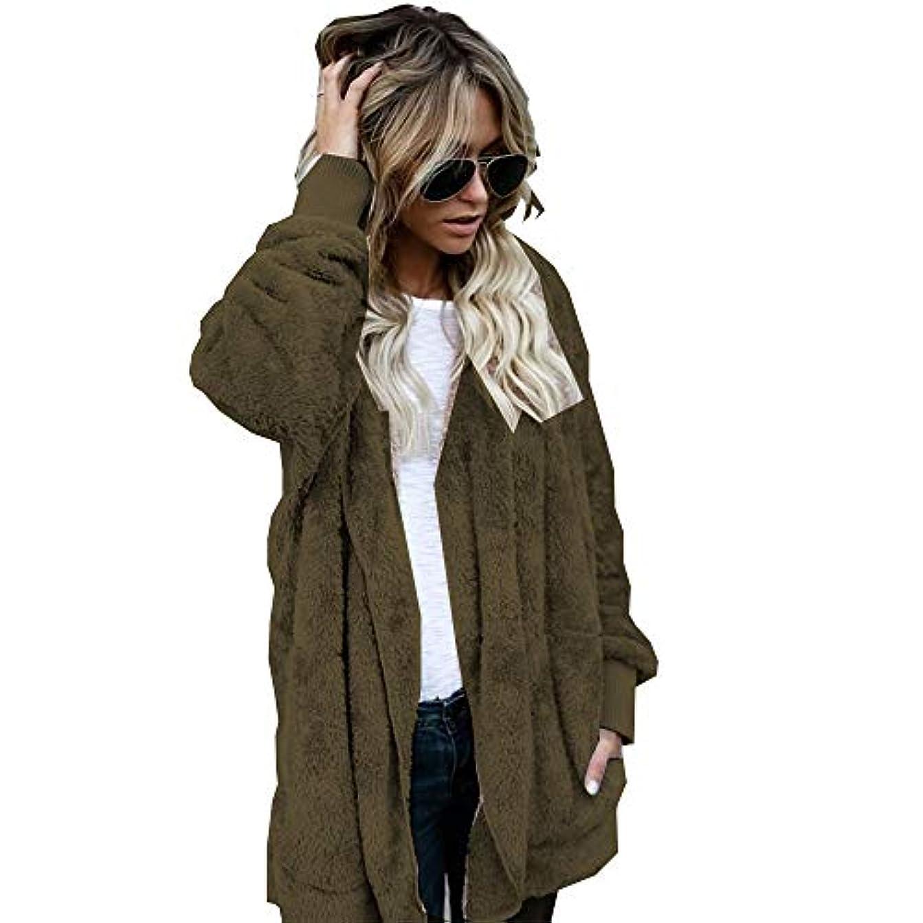 やさしく系譜配当MIFAN 長袖パーカー、冬のコート、女性のコート、女性の緩い厚く暖かいフェイクファーフード付きカーディガン