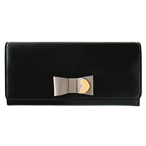 (ポールスミス) Paul Smith コントラストリボン 牛革 かぶせ 長財布 (ブラック)