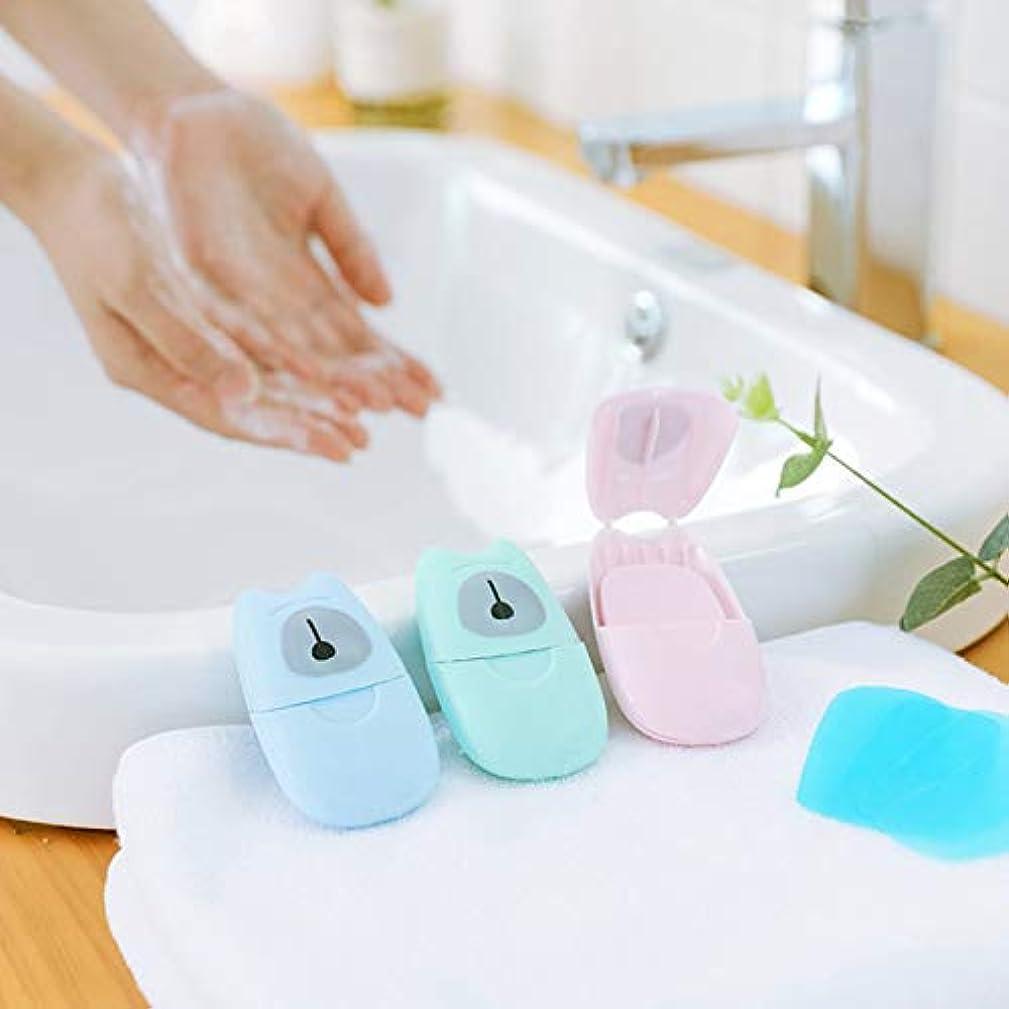 残酷ファイナンスマイクロプロセッサ箱入り石鹸紙旅行ポータブル屋外手洗い石鹸の香りのスライスシート50ピースプラスチックボックス付きミニ石鹸紙(色:緑)