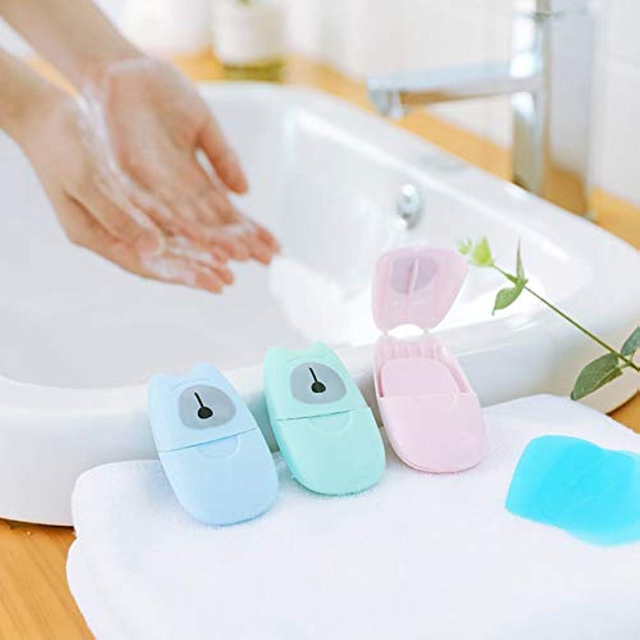 旅客簡略化するカール箱入り石鹸紙旅行ポータブル屋外手洗い石鹸の香りのスライスシート50ピースプラスチックボックス付きミニ石鹸紙(色:緑)