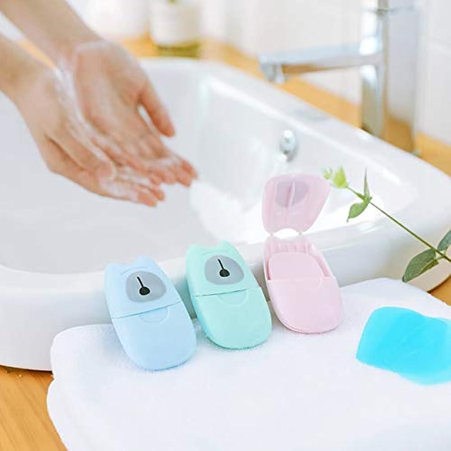 フック鉛筆ボーダー箱入り石鹸紙旅行ポータブル屋外手洗い石鹸の香りのスライスシート50ピースプラスチックボックス付きミニ石鹸紙(色:緑)