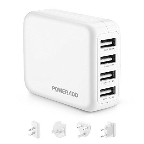 Poweradd USB急速充電器 ACアダプター USBチャージャー 4ポート付きUSB充電器 4つ変換プラグ付き US(JP)/AU/UK/EU対応 海外旅にも自由に変換でき(ホワイト)