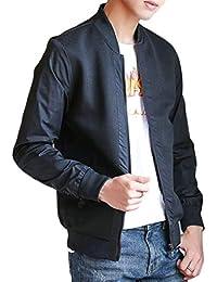 Keaac メンズレジャージップバーシティスリム軽量ウインドブレーカーコートジャケット