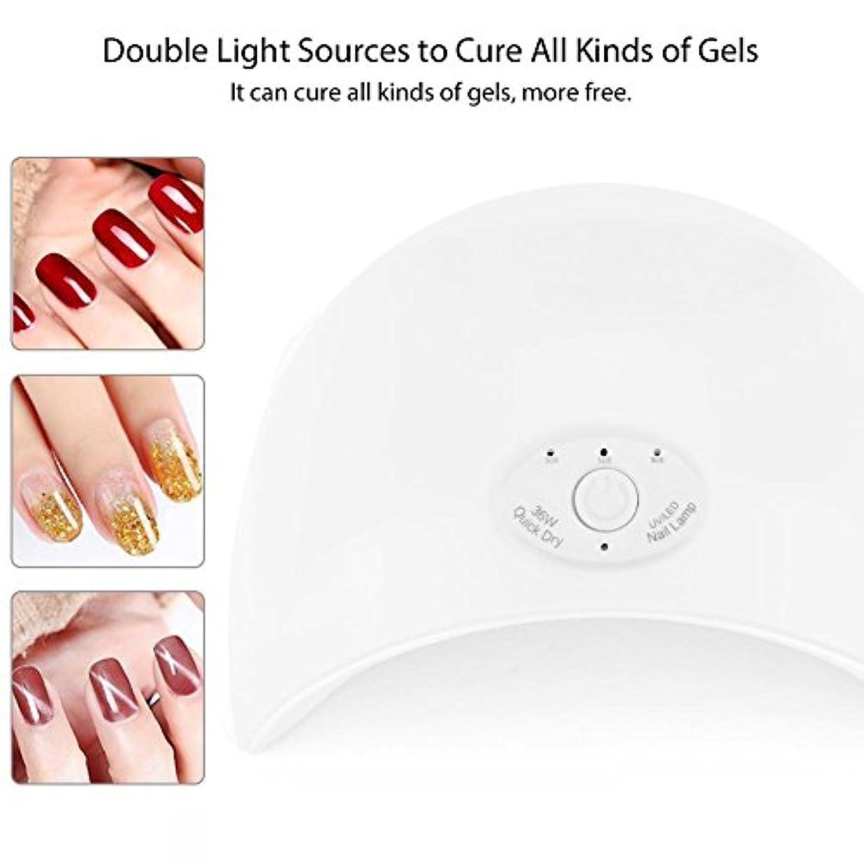 降雨大脳病弱ネイルランプ、スマートセンサーネイルアートツールを使用したネイルジェルポリッシュ硬化用UVLEDネイルドライヤー(白い)