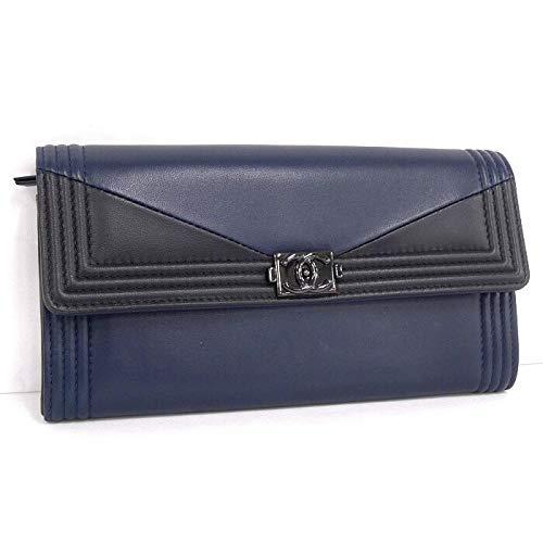 【中古】シャネル 二つ折り長財布 ボーイシャネル バイカラー ブラック/ネイビー レザー A80286
