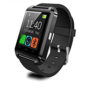 Bluetooth Smart Watch U8 Smart Watch Ultra Thin Watch Multifunction Watch Health Bluetooth Watch Phone Calls Supported 来電 Notification with Camera Support SIM/TF, Voice Calls Remind Watch (black)