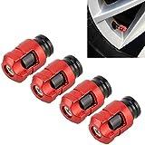 Tyre Valve Caps Valve Shape Gas Cap Mouthpiece Cover Tire Cap Car Tire Valve Caps Car Decoration Accessories, Suitable for Car 4Pcs(Red) (Color : Red)