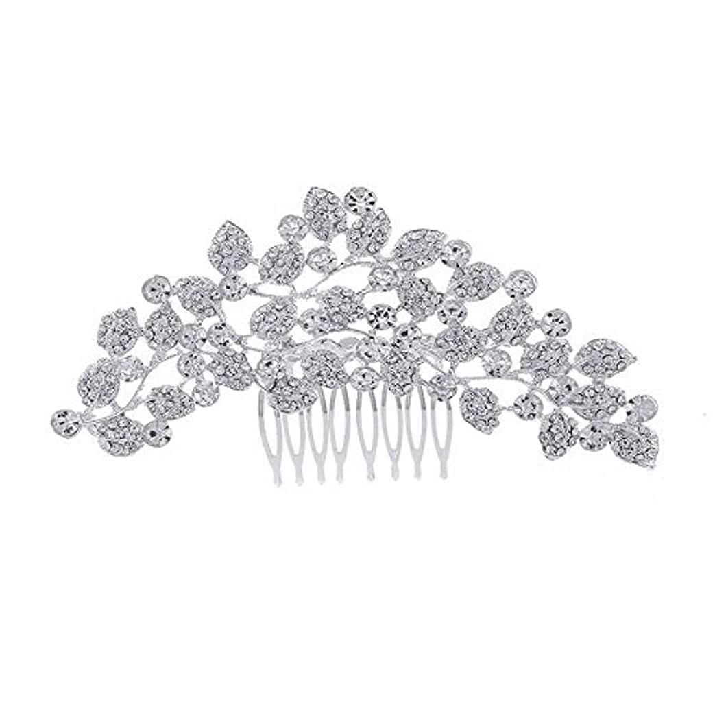 東ティモールポータルバイソン髪の櫛、櫛、ブライダル髪、櫛、髪の櫛、ラインストーンの櫛、葉の髪の櫛、結婚式の髪の櫛