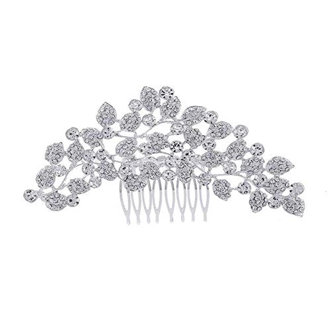 荒涼としたするだろう締める髪の櫛、櫛、ブライダル髪、櫛、髪の櫛、ラインストーンの櫛、葉の髪の櫛、結婚式の髪の櫛