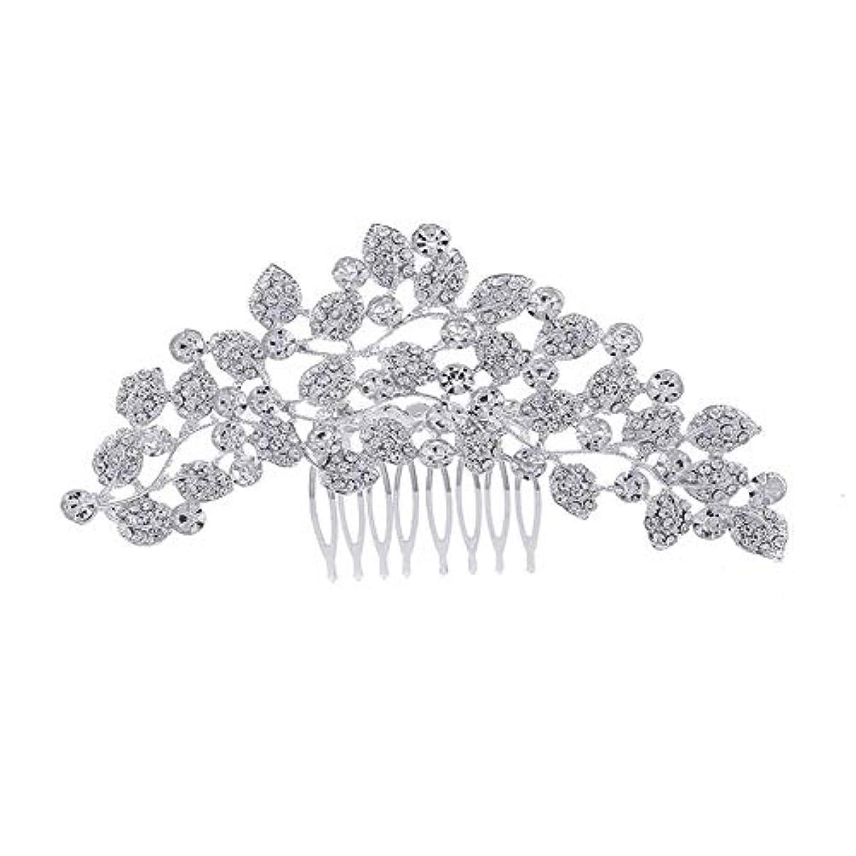 使い込む手伝う癒す髪の櫛、櫛、ブライダル髪、櫛、髪の櫛、ラインストーンの櫛、葉の髪の櫛、結婚式の髪の櫛