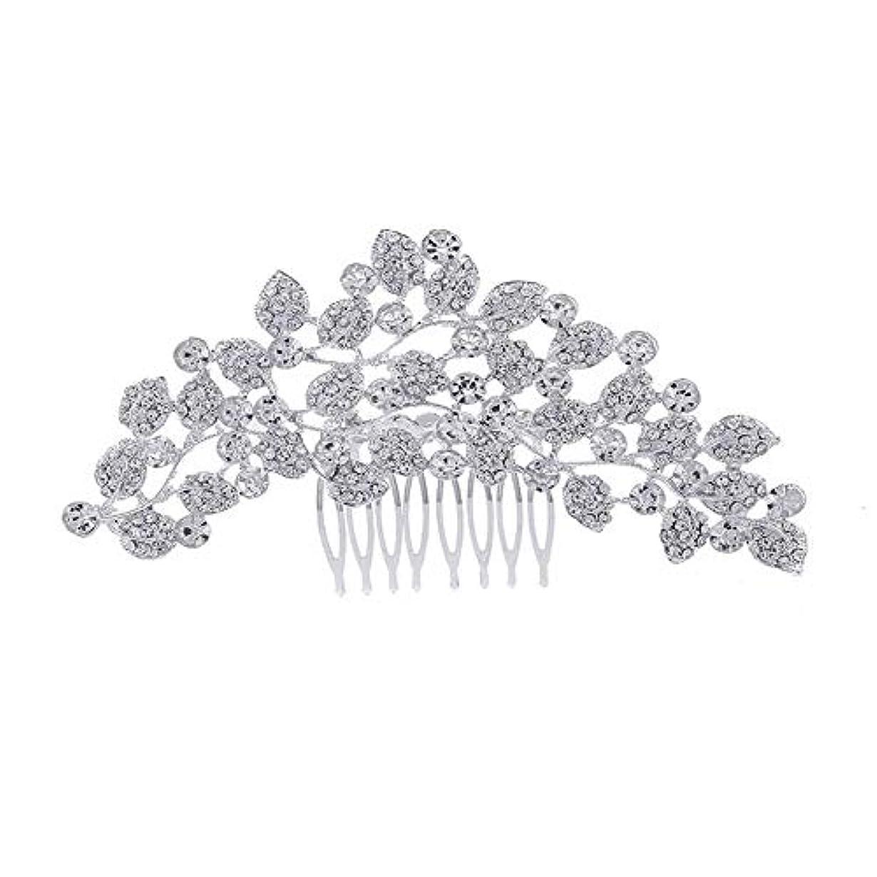 価値本部ナチュラ髪の櫛、櫛、ブライダル髪、櫛、髪の櫛、ラインストーンの櫛、葉の髪の櫛、結婚式の髪の櫛