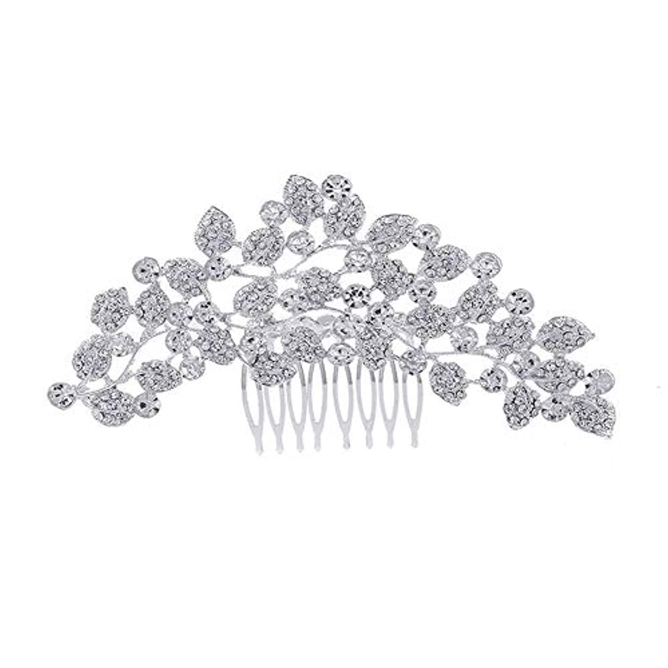 サンダープーノ大型トラック髪の櫛、櫛、ブライダル髪、櫛、髪の櫛、ラインストーンの櫛、葉の髪の櫛、結婚式の髪の櫛