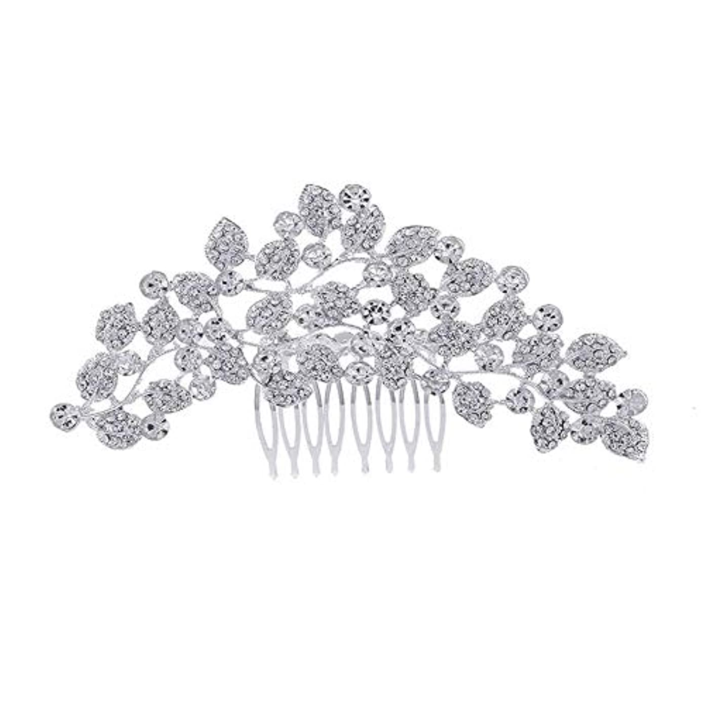 反対する手伝うジュニア髪の櫛、櫛、ブライダル髪、櫛、髪の櫛、ラインストーンの櫛、葉の髪の櫛、結婚式の髪の櫛