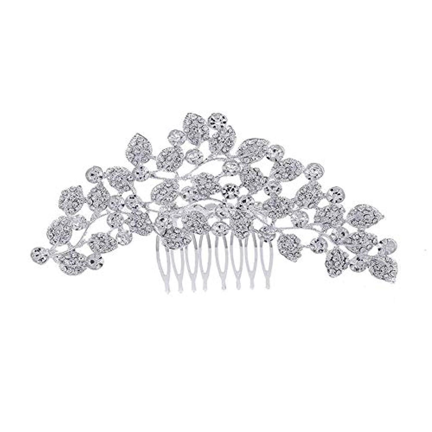 幅無能またね髪の櫛、櫛、ブライダル髪、櫛、髪の櫛、ラインストーンの櫛、葉の髪の櫛、結婚式の髪の櫛