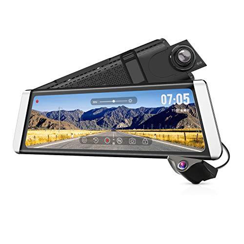 ドライブレコーダー デジタルインナーミラー 前後カメラ同時録画対応 9.88インチタッチパネル 1296PフルHD ...