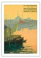 七面鳥, 出荷宅配便で地中海 - ボスポラス(イスタンブール海峡)トルコ - ビンテージな遠洋定期船のポスター によって作成された ギルバート・ギャランド c.1925 - 美しいポスターアート