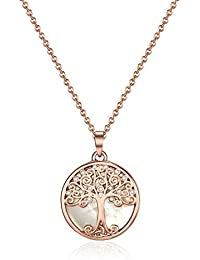 Mestige Rose Gold Willow Tree of Life Necklace with Swarovski® Crystals, Gift