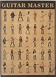 【ノーブランド品】 ビンテージ風 おしゃれ 世界の ギタリスト イラスト ポスター 53×38cm