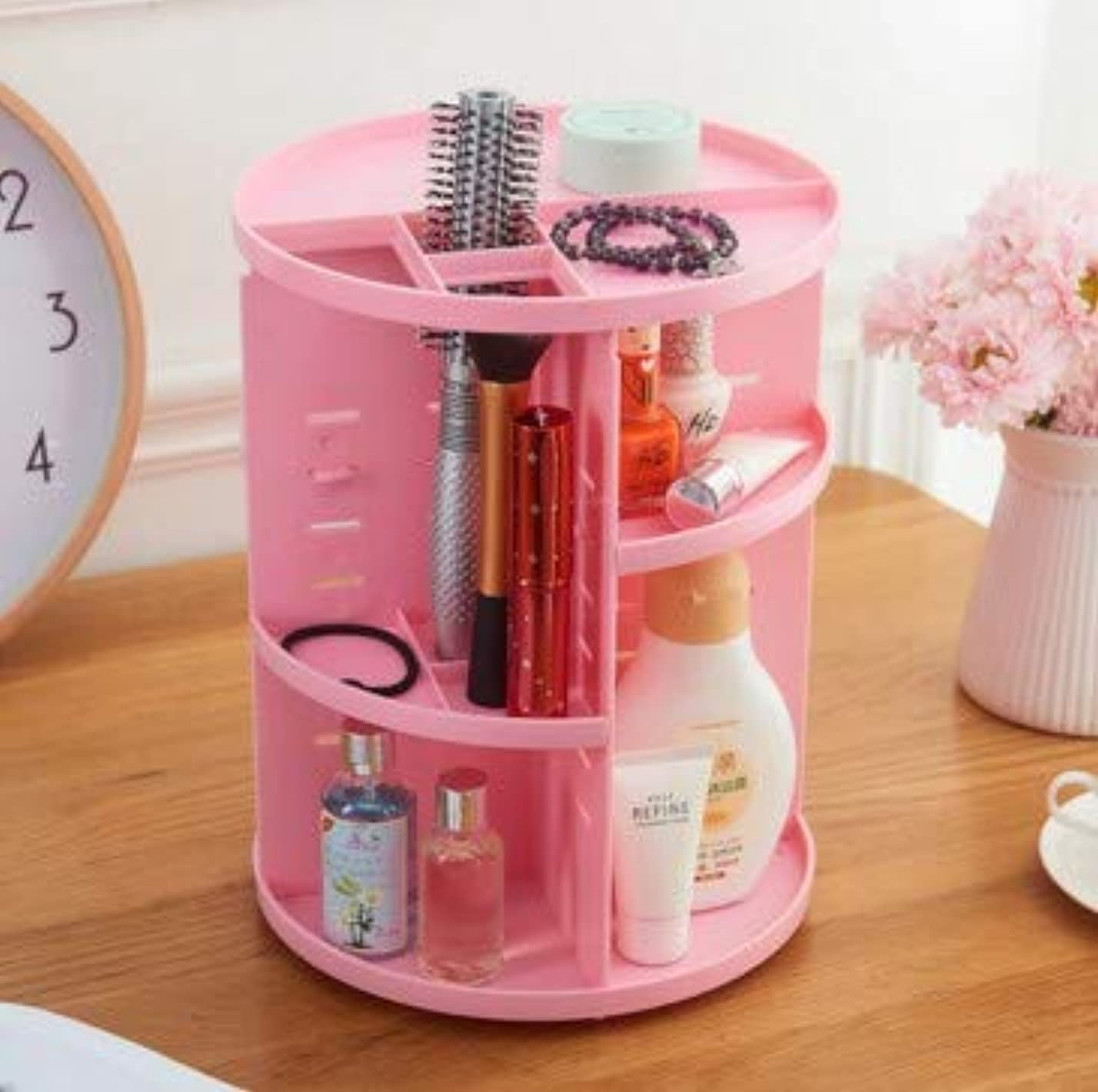 アーティストテレビ局アンビエントデスクトップロータリー収納ボックス多機能プラスチックバスルーム仕上げボックス化粧品収納ボックス (Color : ピンク)