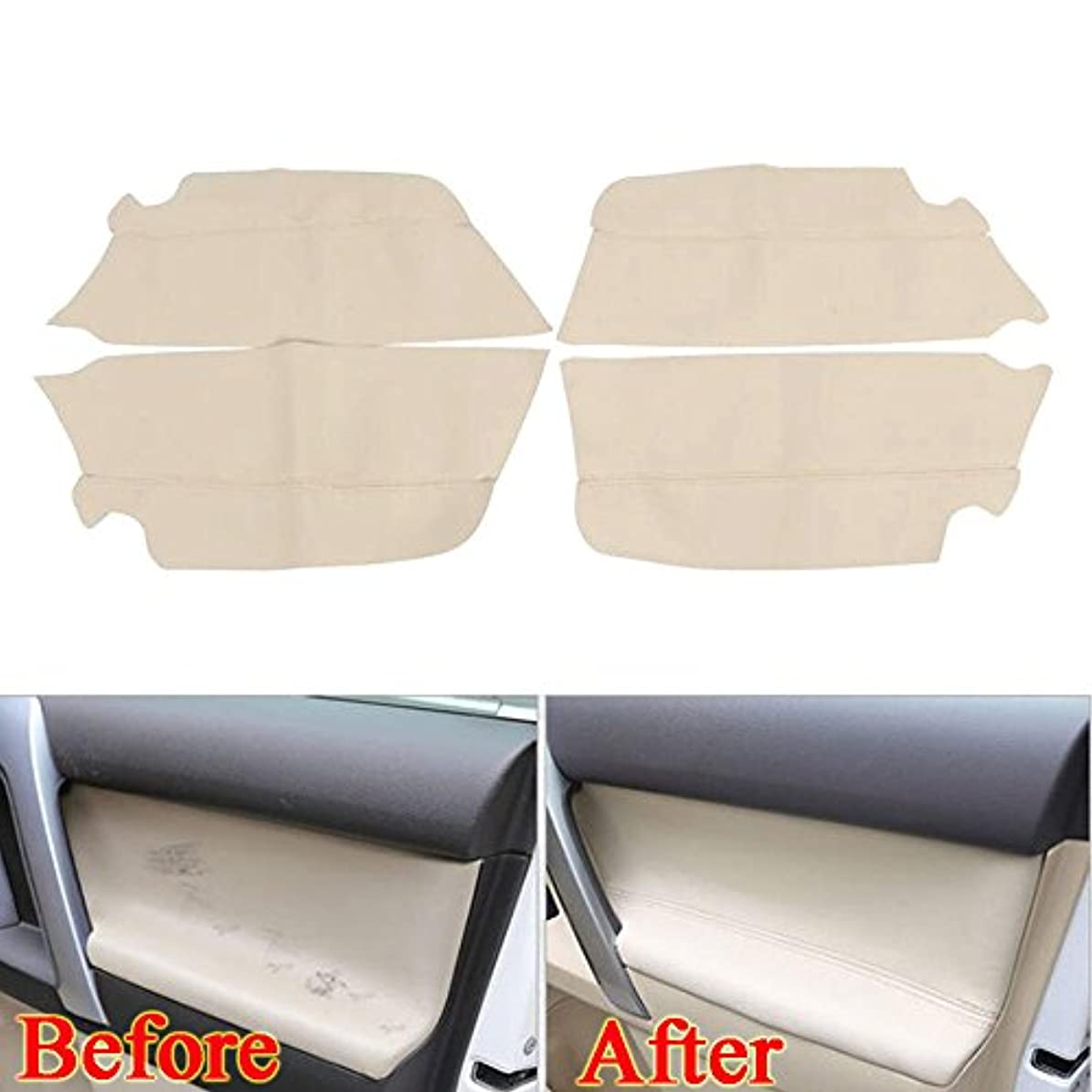 貢献するマリナーモザイクJicorzo - For Toyota Prado PU Leather Door Armrest Cover Trim Decor Panel Car-Covers Interior Anti-scratch Car...