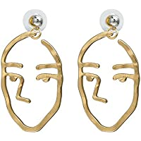 Zealmer Face Earrings Gold Statement Earrings Irregular Geometric Stud Earrings for Women